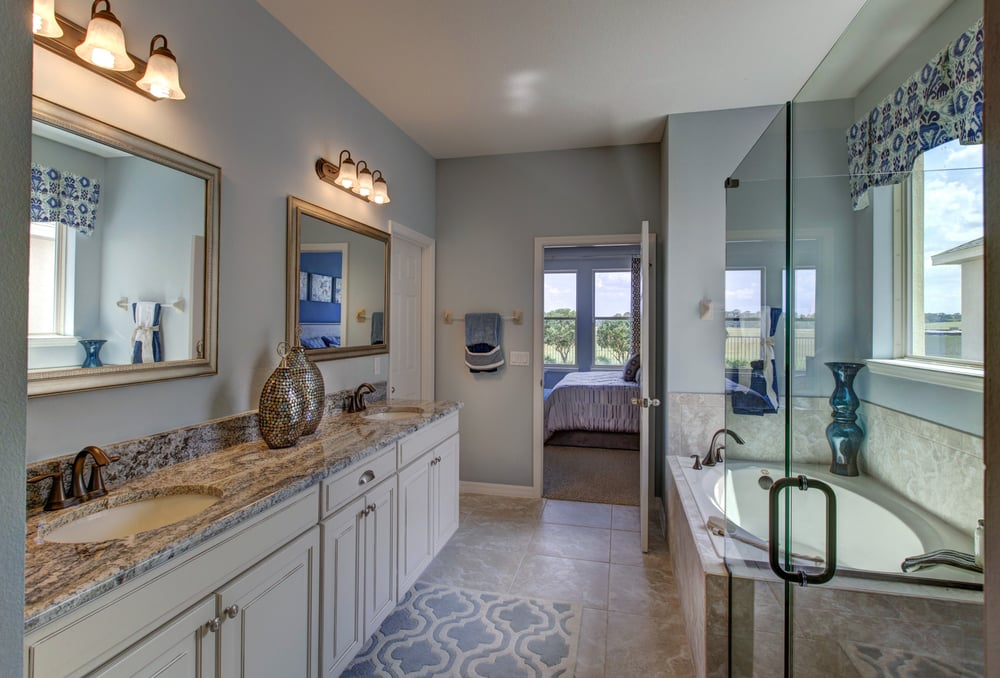 Wilson Master Bathroom. Dual vanities, spa tub, separate shower plus ...