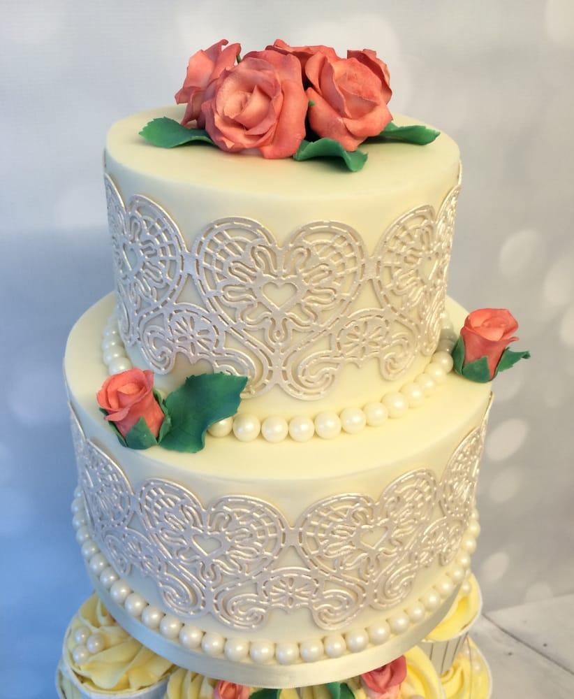 Super elegant silk and lace effect wedding cake. - Yelp