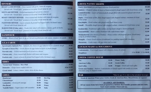 Athenian Deli And Restaurant Menu