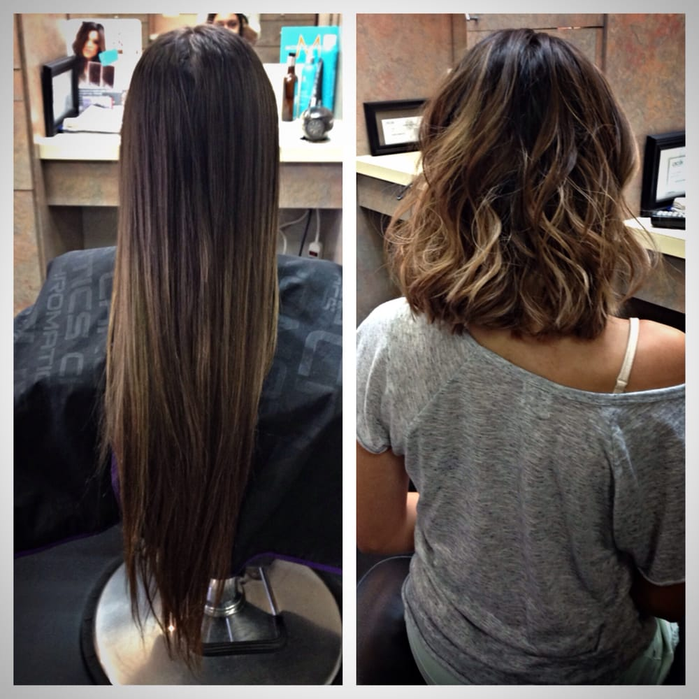 Before And After Balayage Highlights And A Long Bob With Layers By