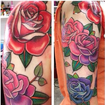 1744be24b Photo de Diamond Tattoos - New York, NY, États-Unis. Half sleeve. Half  sleeve of roses ...