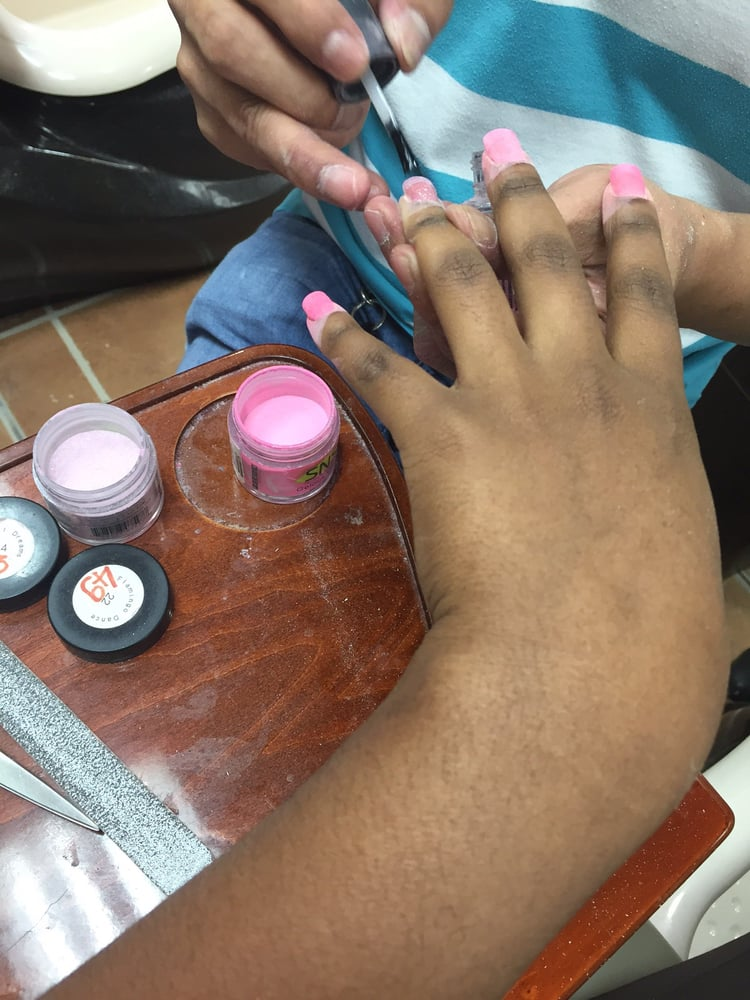 The process for sns nails. It was my first time! - Yelp