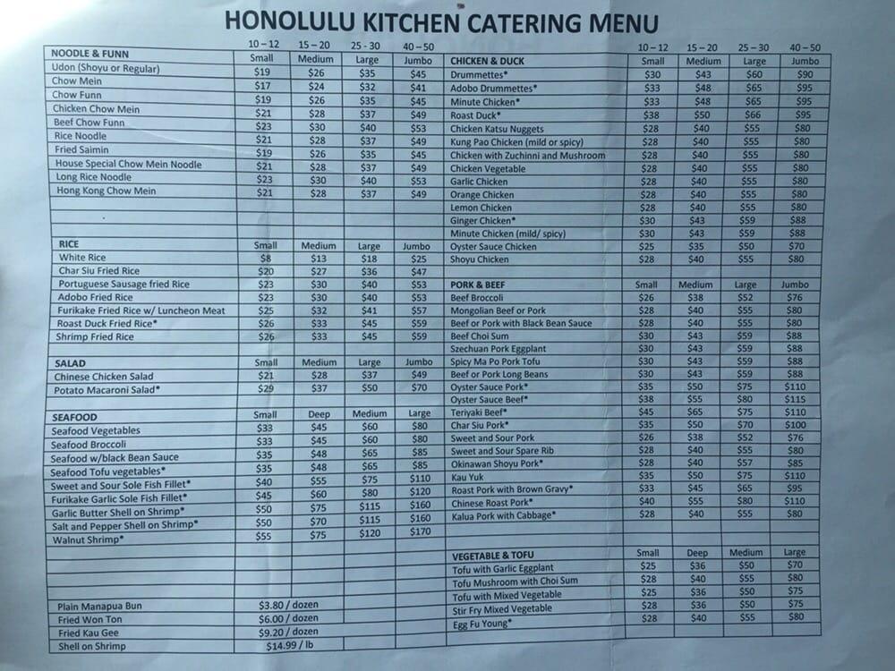 Honolulu Kitchen Waipahu Food Menu