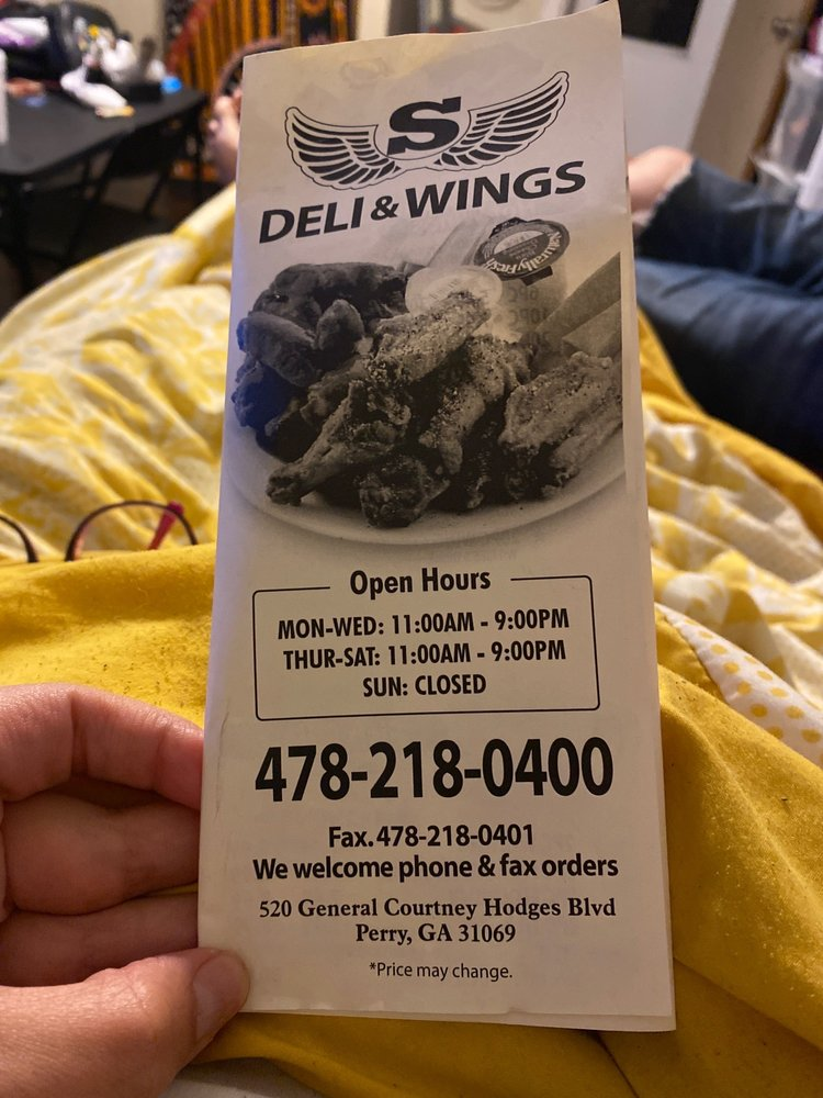 S Deli & Wings: 520 General Courtnery Hodges Blvd, Perry, GA