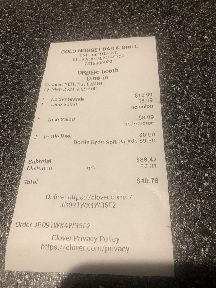 Gold Nugget Bar & Grill: 6513 Center St, Ellsworth, MI