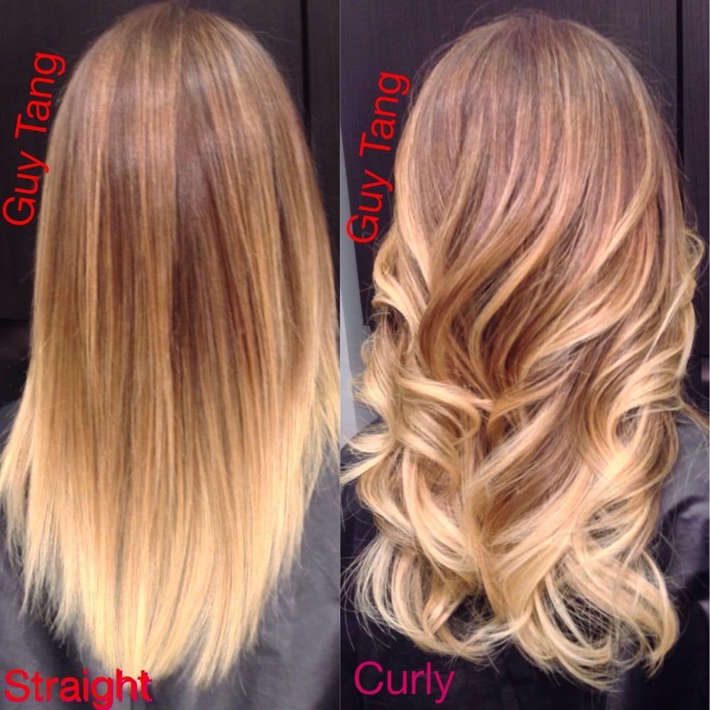 Straight or curled balayage ombr by guy tang yelp for Ombre mittellang