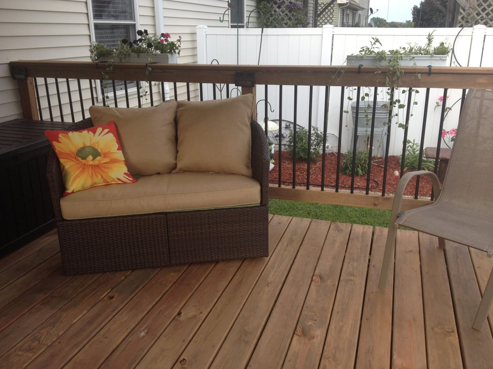 This deck was built using cedar tone treated wood this for Bathrooms plus peoria il