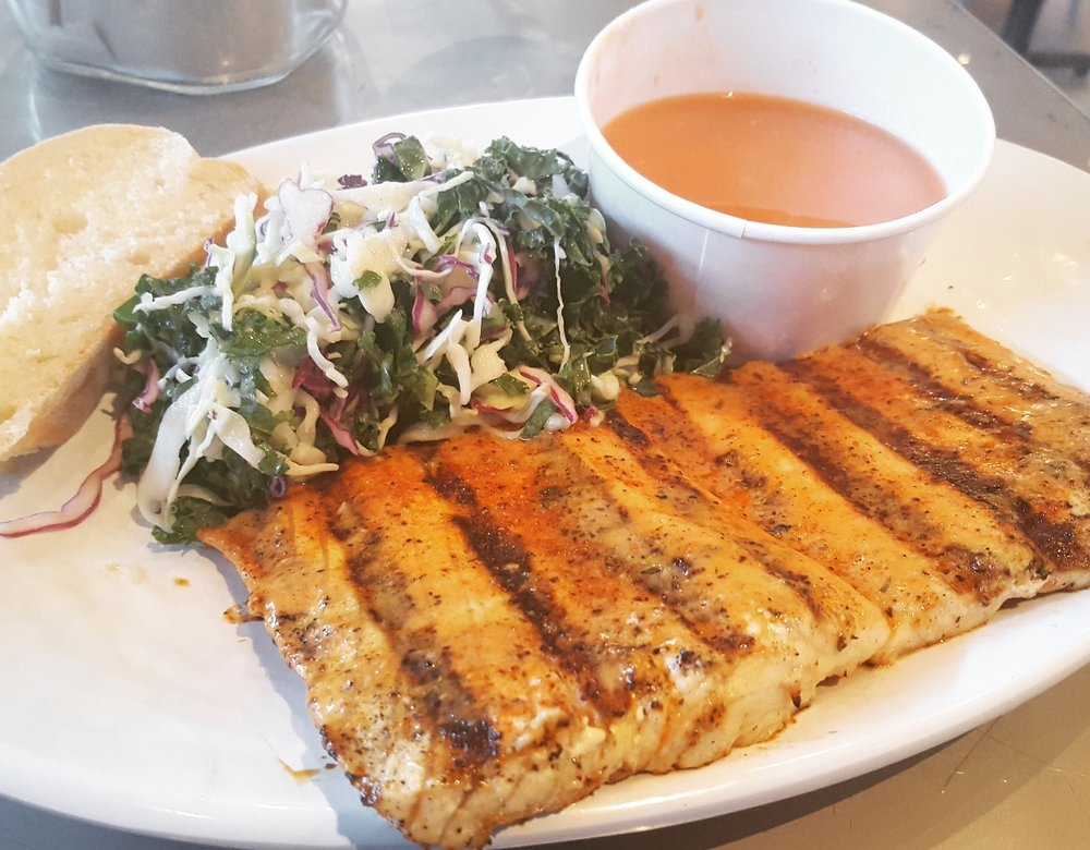 Cajun rubbed ono with side of kaleslaw and beans yelp for California fish grill