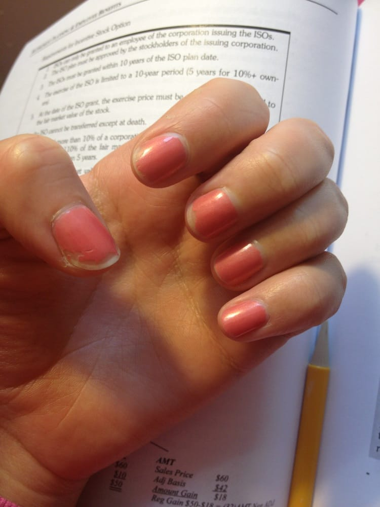 My nails 2 days after the manicure.she never cut my cuticles when I ...