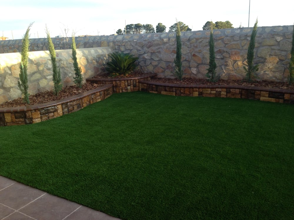Artificial grass retaining walls yelp for Pool design el paso tx