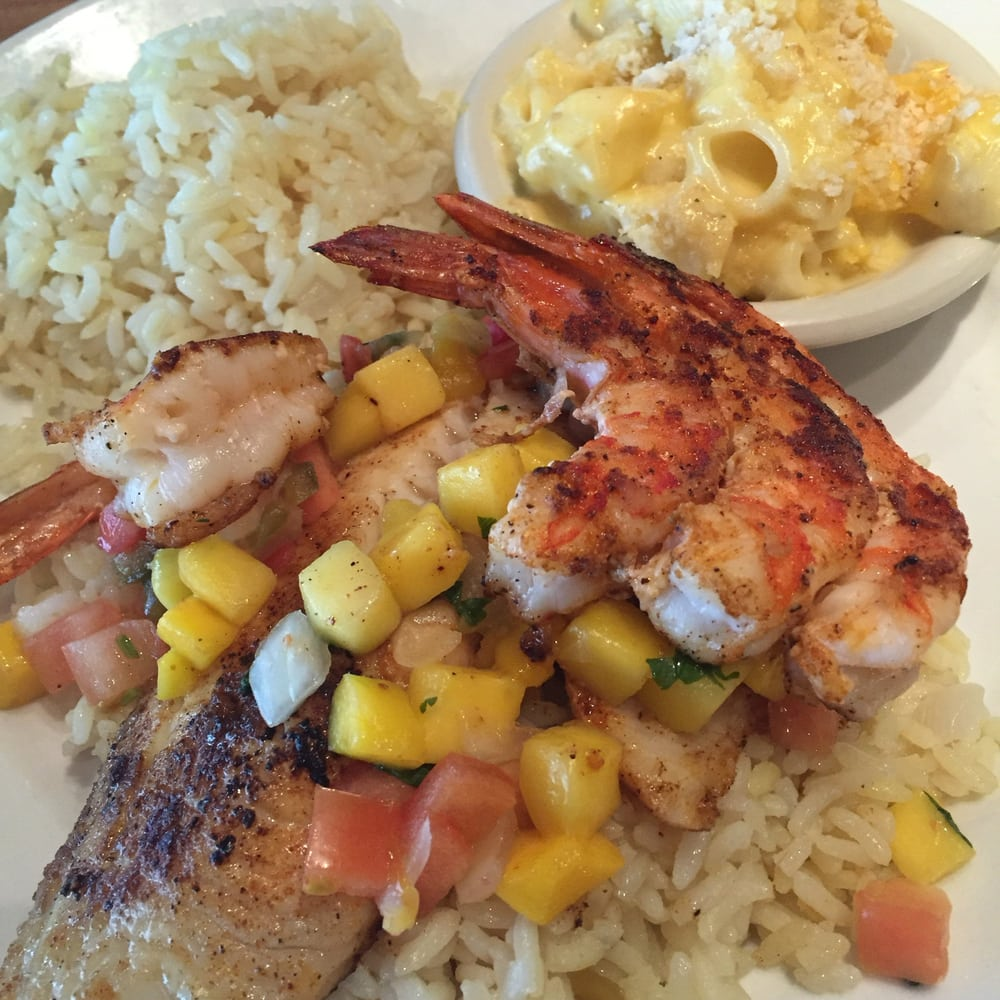 Shrimp And Tilapia With Rice And Mac N Cheese Yelp