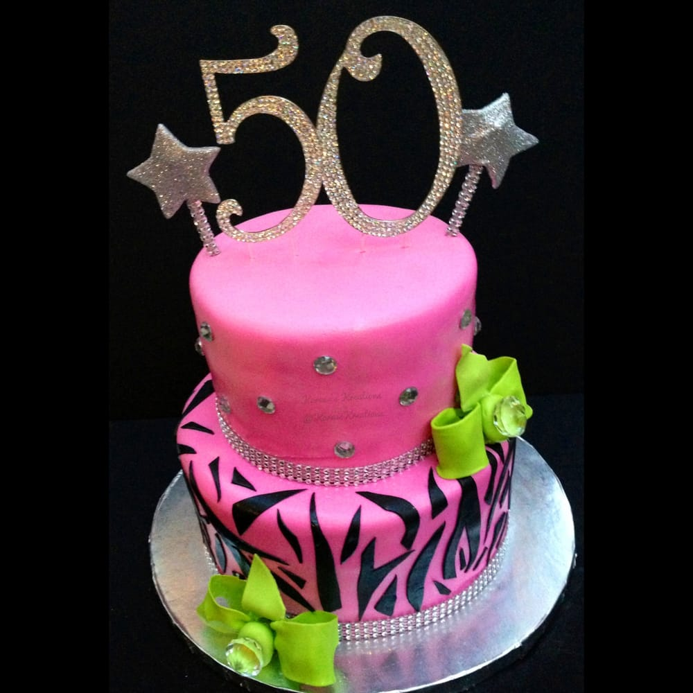 Fondant Hot Pink Two Tiered 50th Birthday Cake