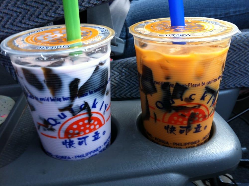 Quickly Taro Bubble Tea Taro milk tea w/ grass...