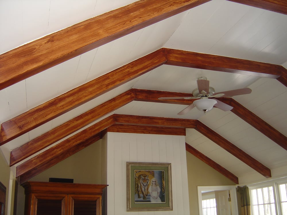 Decorative Faux Wood Beams Painted With Woodgraining Tool