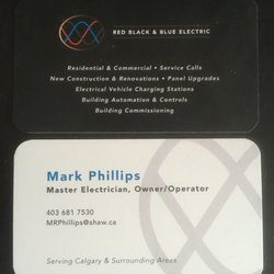 Red black blue electrical get quote electricians 788 12 photo of red black blue electrical calgary ab canada business card reheart Gallery