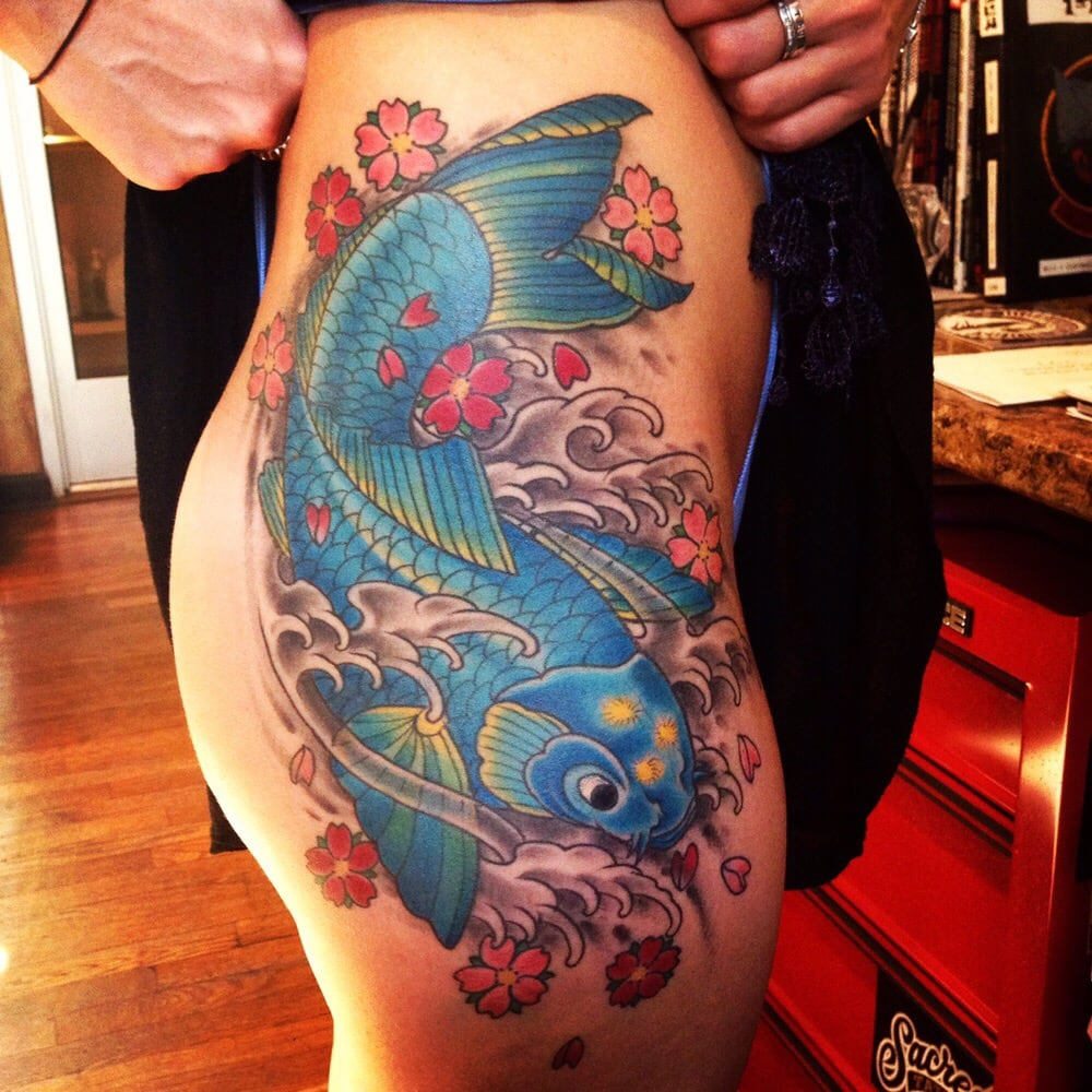 Large koi thigh by mark walters yelp for Living canvas tattoo tempe