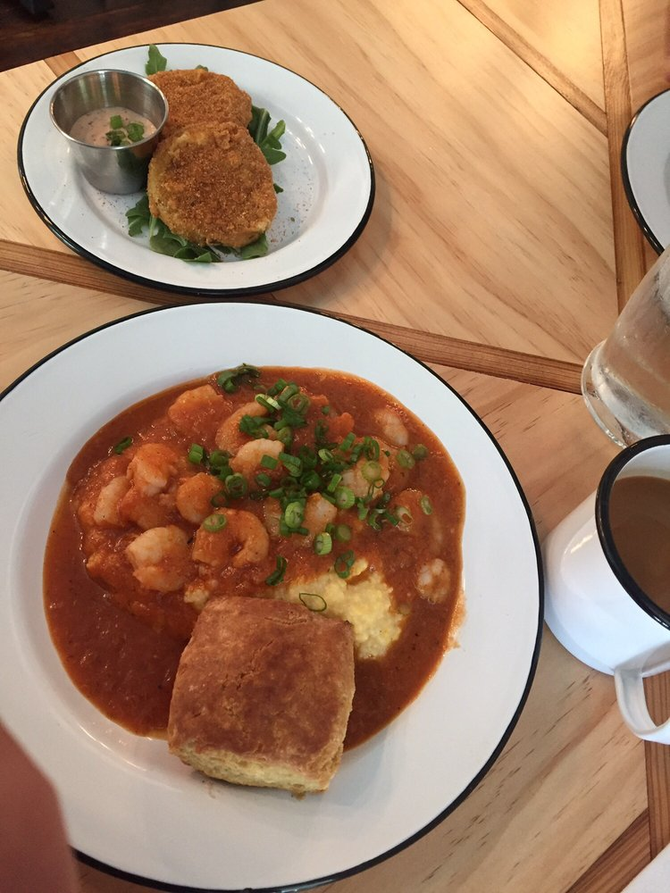 Fried Green Tomatoes Yum Shrimp Amp Grits Just Ok Yelp