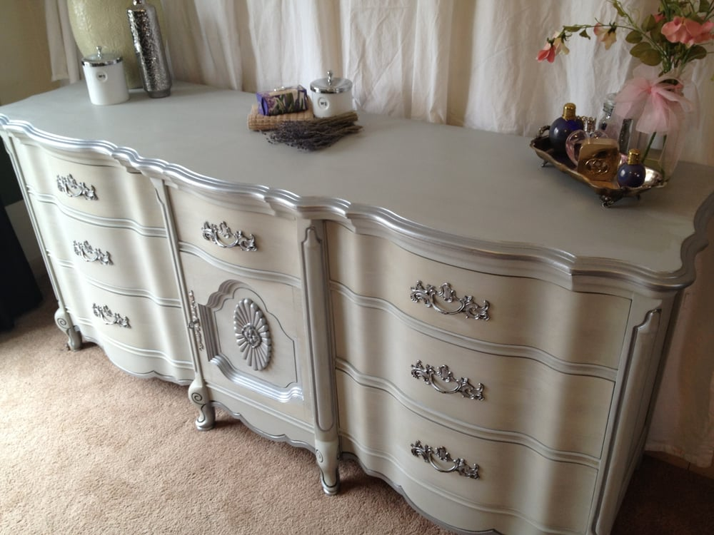 French Provincial, Long Dresser painted in Paris Grey ...