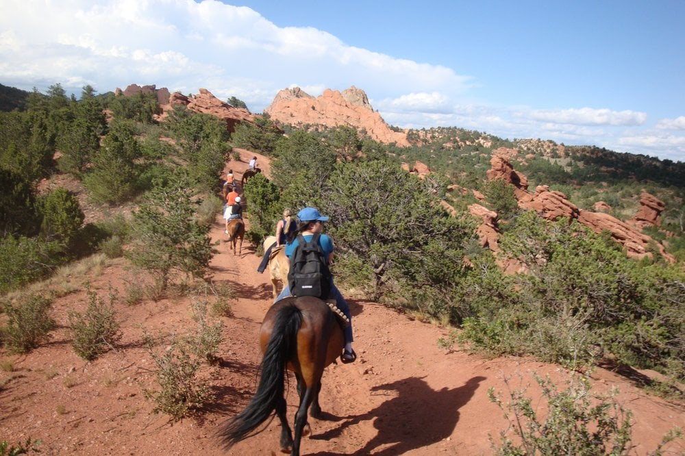 Part of the 6 1 2 mile tour through the garden of the gods atop a horse yelp for Garden of the gods horseback riding