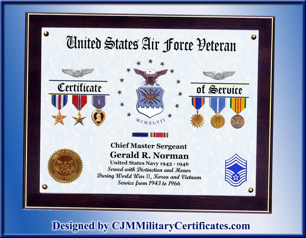 Us Air Force Certificate Of Service Displays Awards And Experience