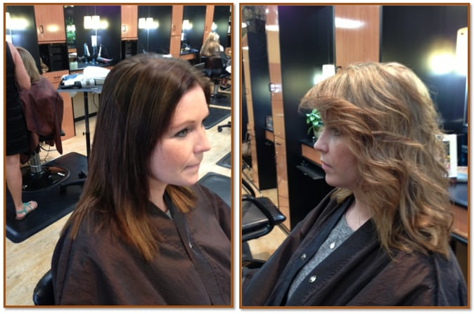 Danielle received a dramatic brunette to blonde makeover for 3 brunettes and a blonde salon