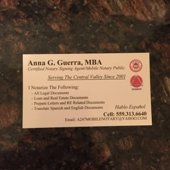 Annas mobile notary service 26 reviews notaries for Business cards fresno ca