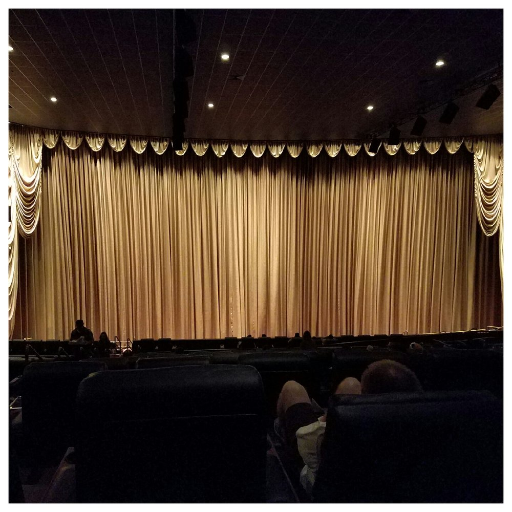 Harkins Cerritos Recliners: Gold Curtains In CINE1 Theater