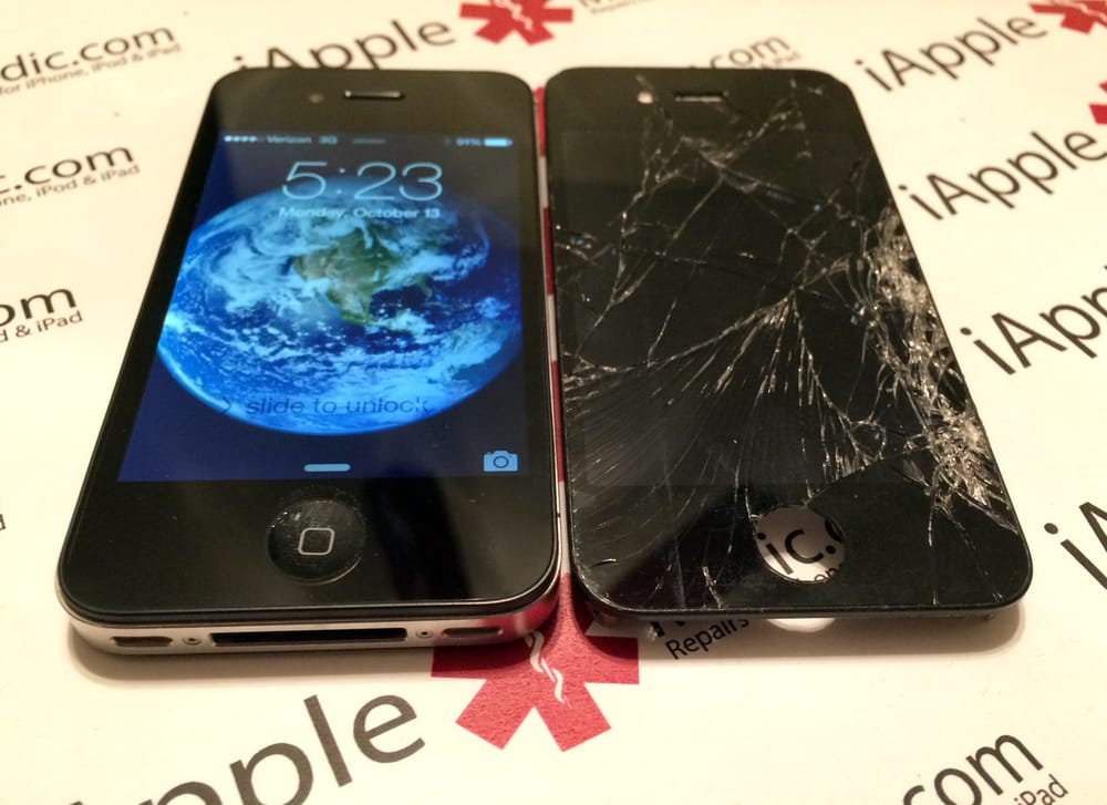 Apple IPhone 4S Before And After Cracked Screen Repair