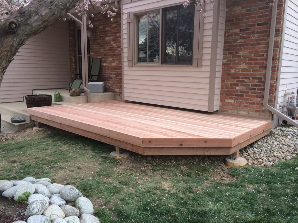 Small Redwood Deck Added To Front Of Single Family Home Yelp