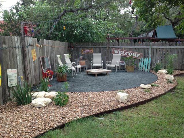 Beach themed backyard setting. - Yelp