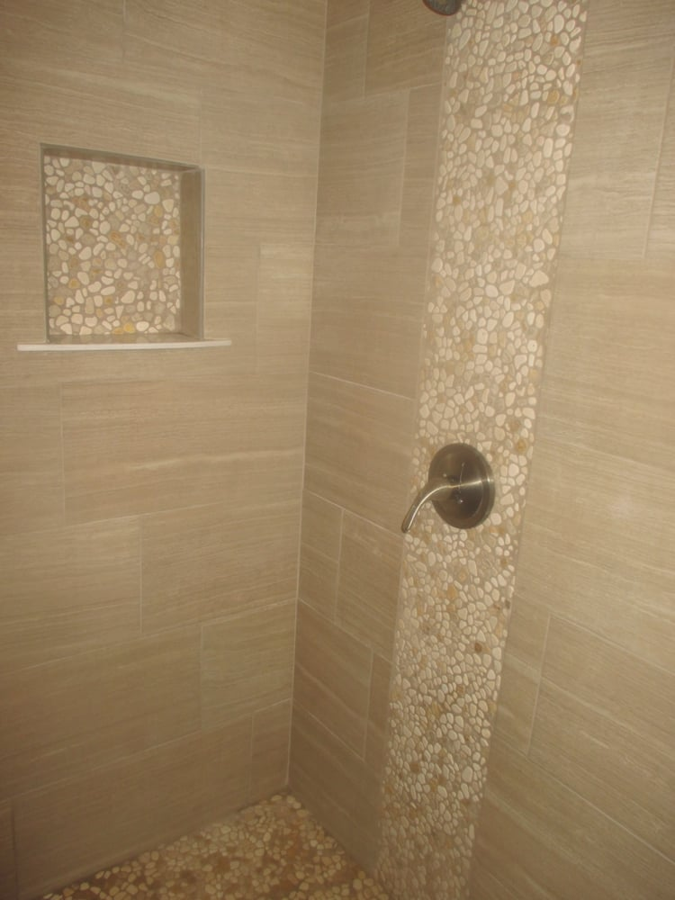 Shower 12 x 24 porcelain tile with pebble stone yelp for 12x24 bathroom tile ideas