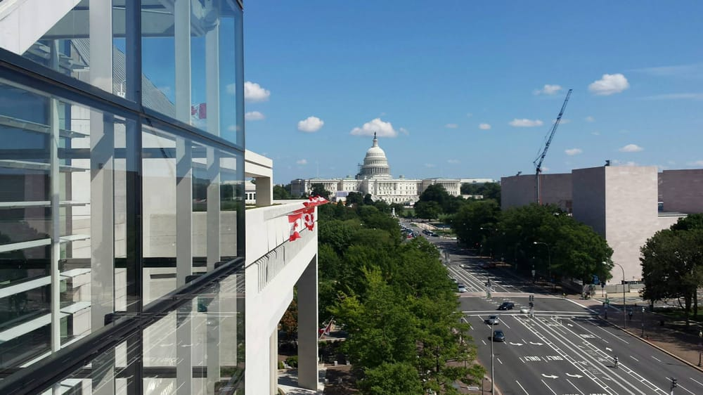 Newseum 8th floor terrace overlooking the capitol and for 8th ave terrace