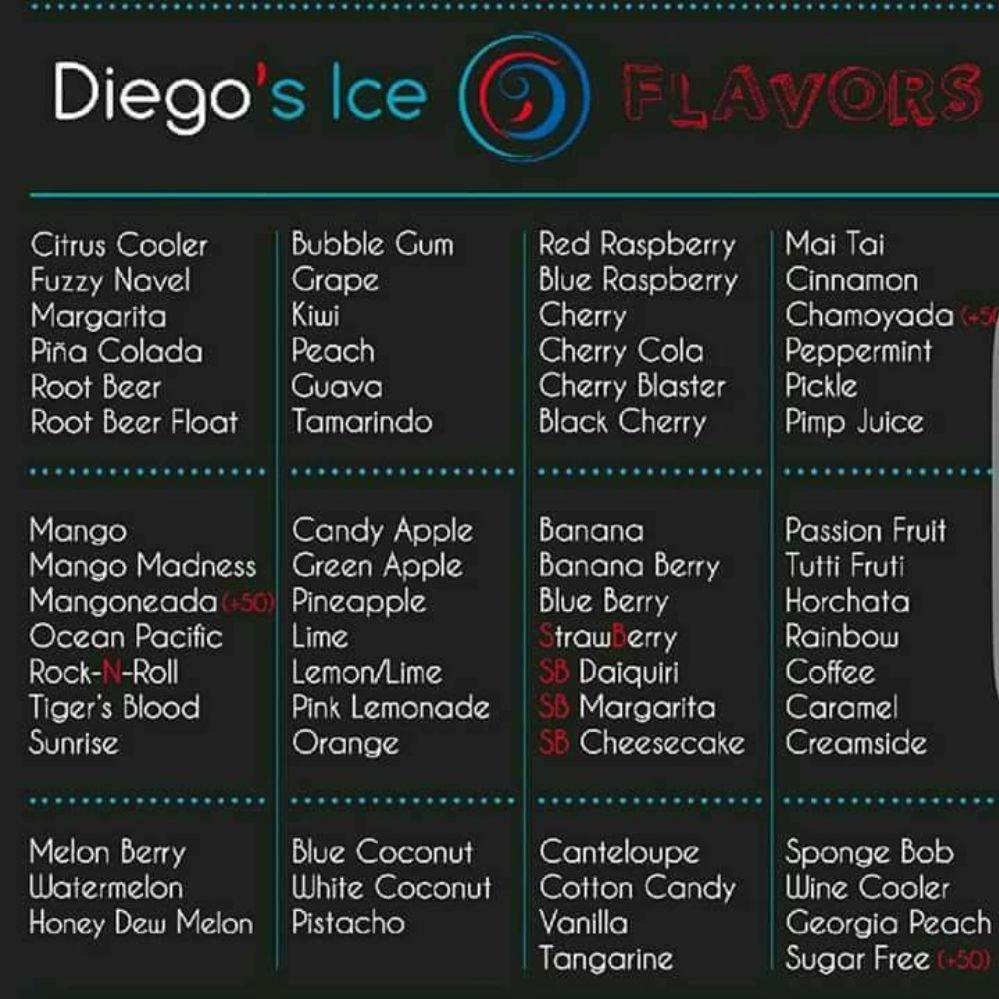Shaved ice flavor menu list — photo 2