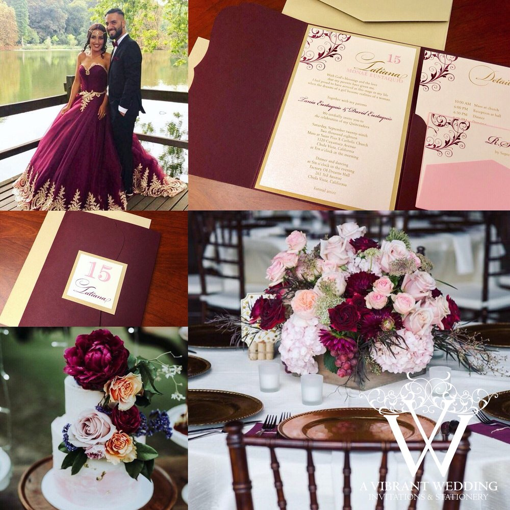 quinceanera custom invitation marsala burgundy with champagne and