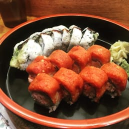 New City Sushi - New City, NY, United States. Spivey tuna crunch roll (firecracker roll) and vegetable tempura roll.
