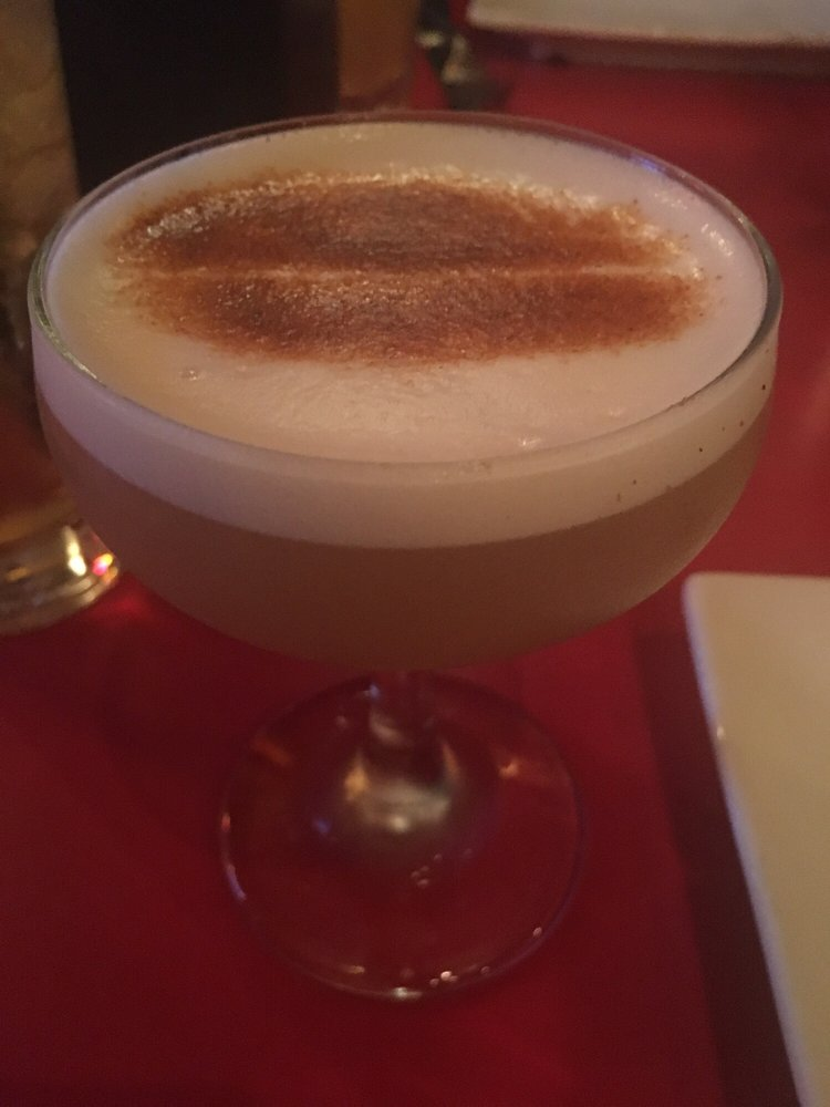 "Our Sour"" craft cocktail with frothy egg white - wow, strong drink ..."