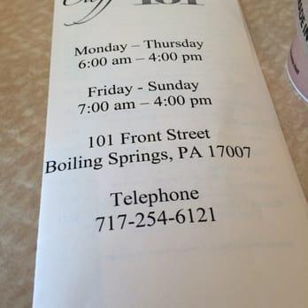 Cafe  Menu Boiling Springs Pa