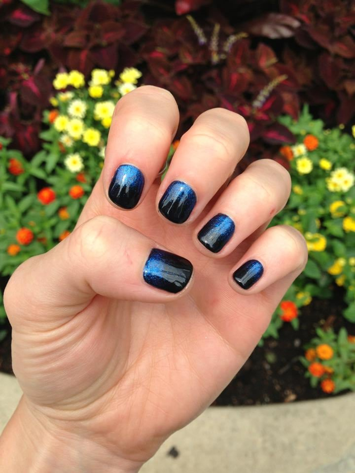 OPI Black Onyx gel with white translucent Mac glitter ombre - Yelp