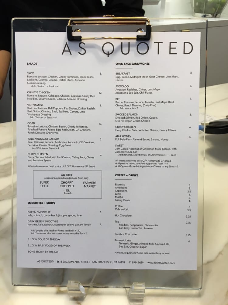 As Quoted Delectable Here's The Menu Two Days After Their Opening Yelp