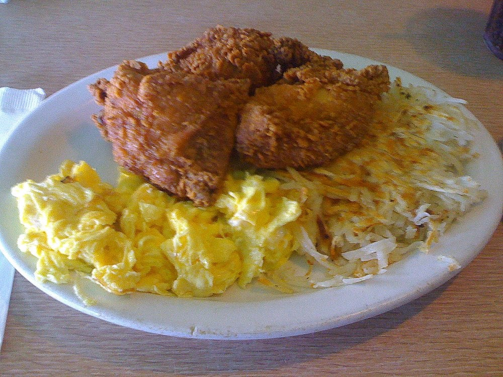 Fried Chicken Scrambled Eggs And Hash Browns Yelp