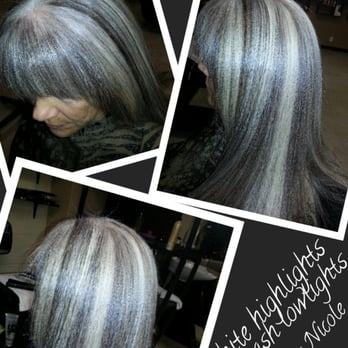 White Highlights On Ash Lowlights Hair By Nicole Yelp