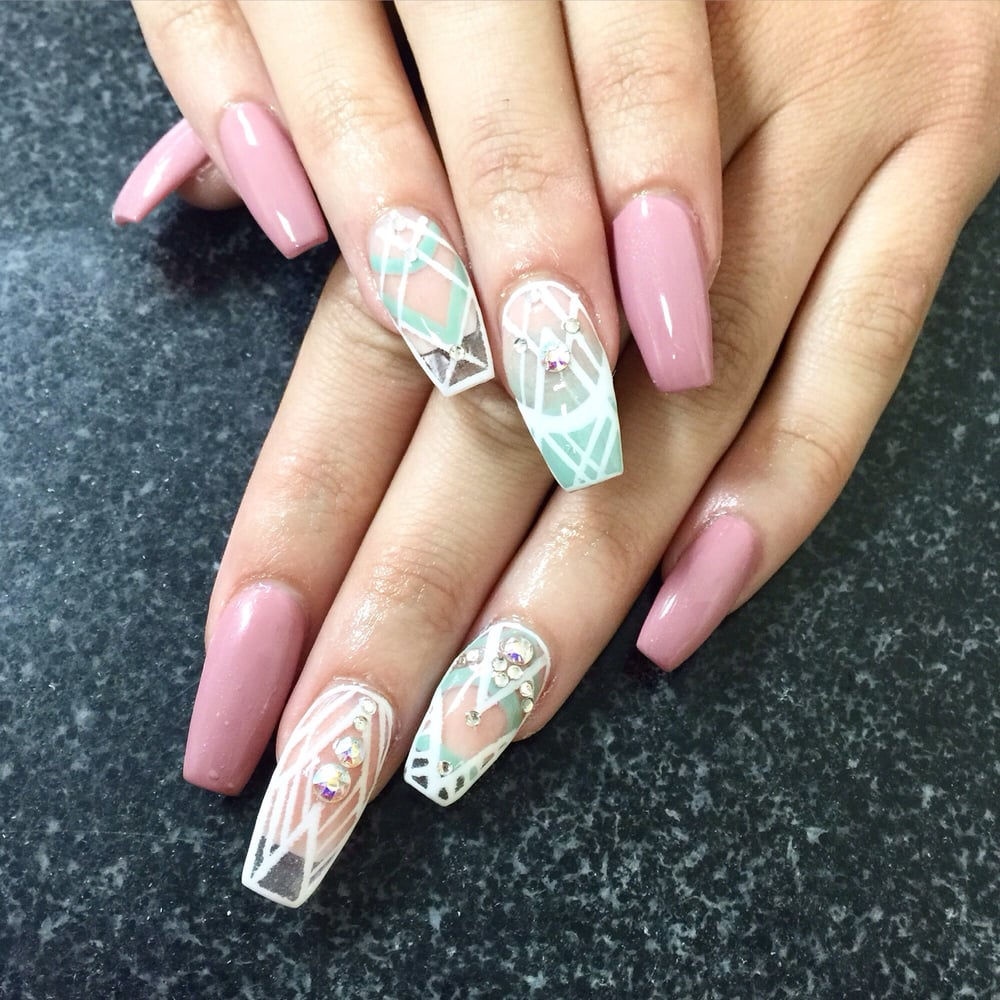 Full set of long ballerina:coffin shape nails. Gel polish with four ...