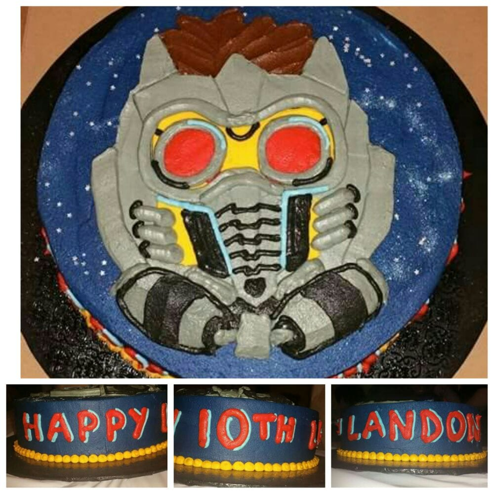 Guardians of the Galaxy birthday cake Yellow cake with chocolate ...