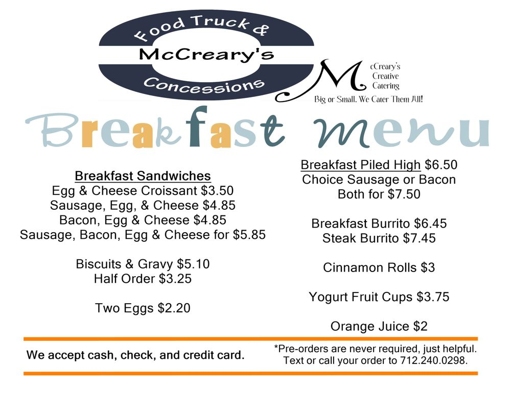 Mccreary's Creative Catering & Food Truck: 1900 Grand, Spencer, IA