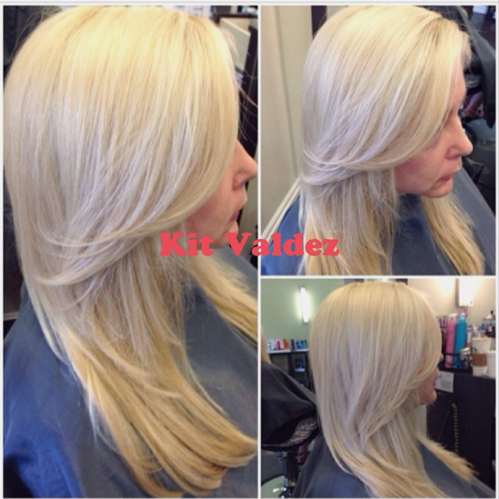 Platinum blonde highlights and layered haircut by kit yelp for 2 blond salon reviews