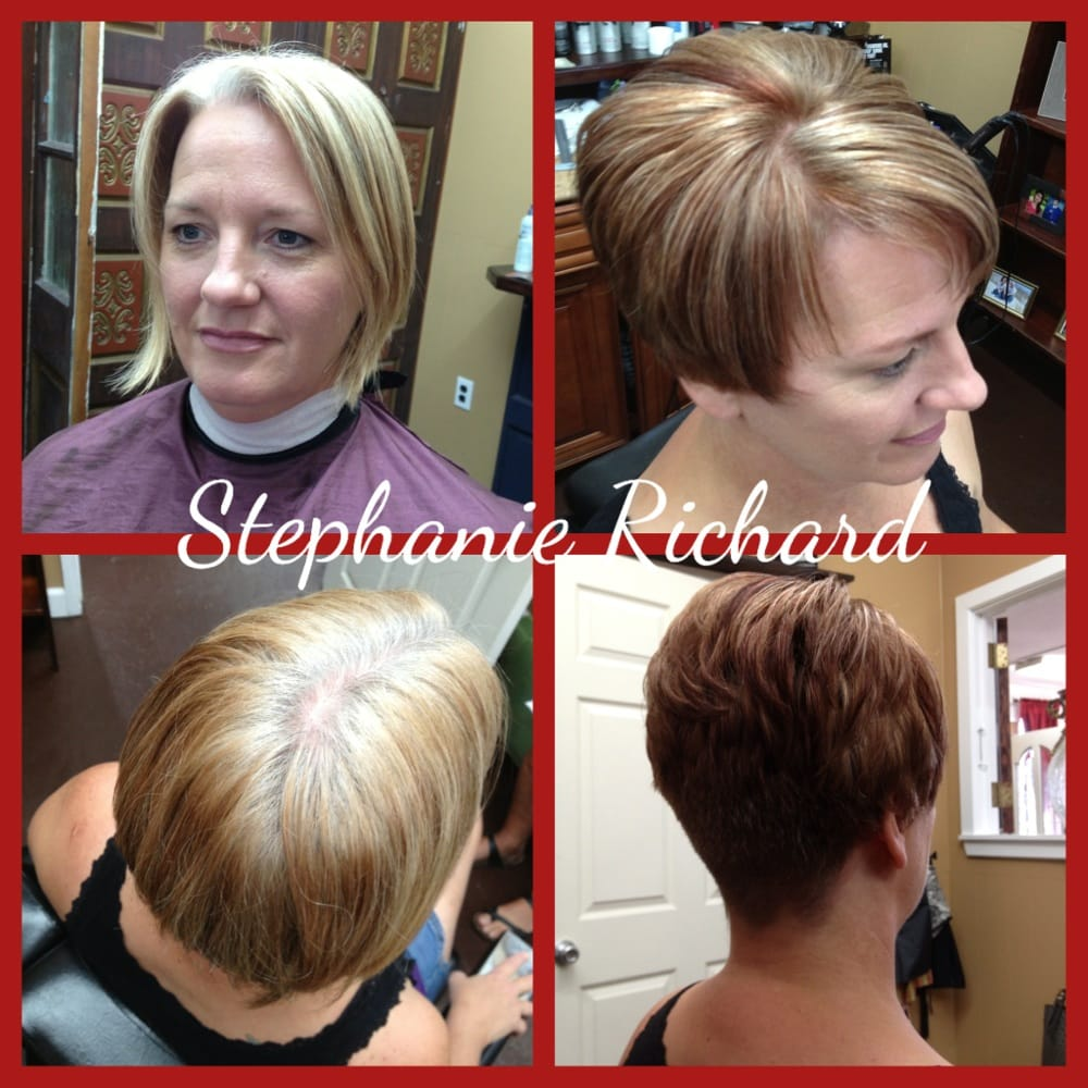 Before And After Blonde To Red Brownhighlights Short Style To