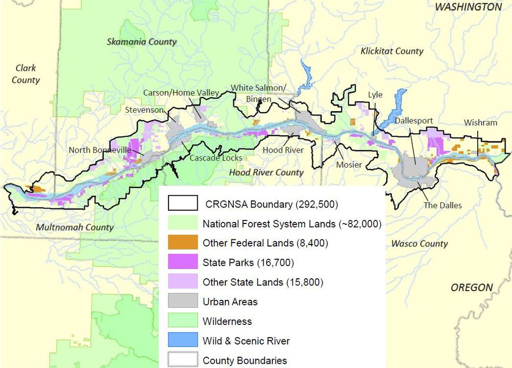 Map Showing Different Types Of Territories Within The Boundaries Of - Columbia-river-map-us