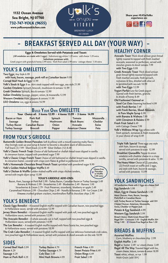 Yolk's On You Kitchen: 1132 Ocean Ave, Sea Bright, NJ