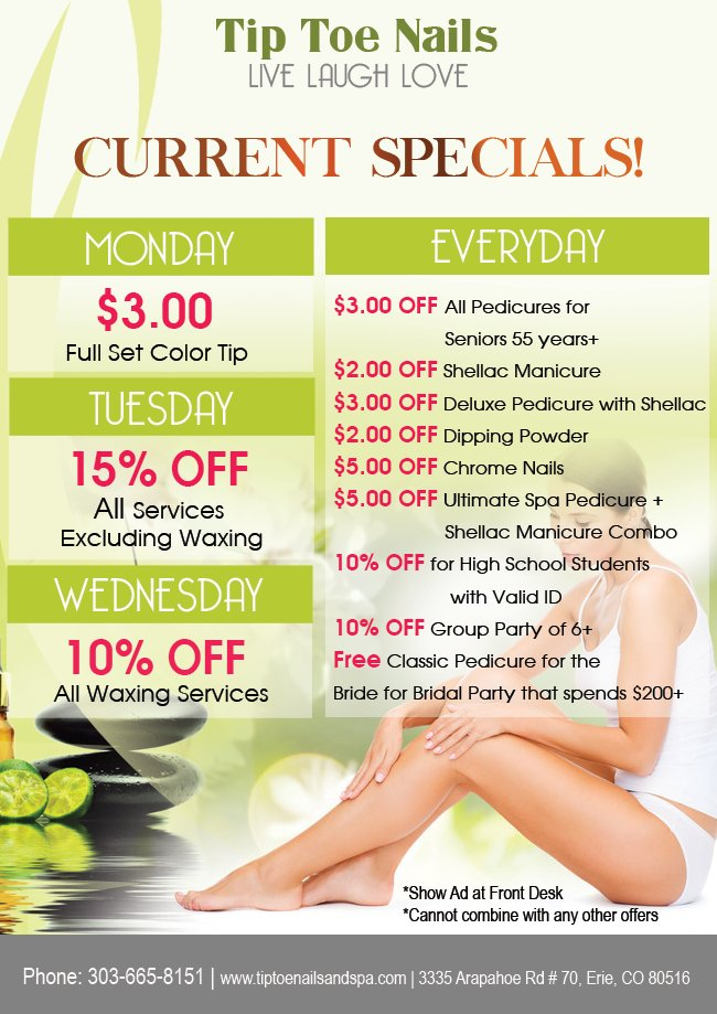 Monday: 10% OFF All Waxing Services Tuesday: 15% OFF All Services