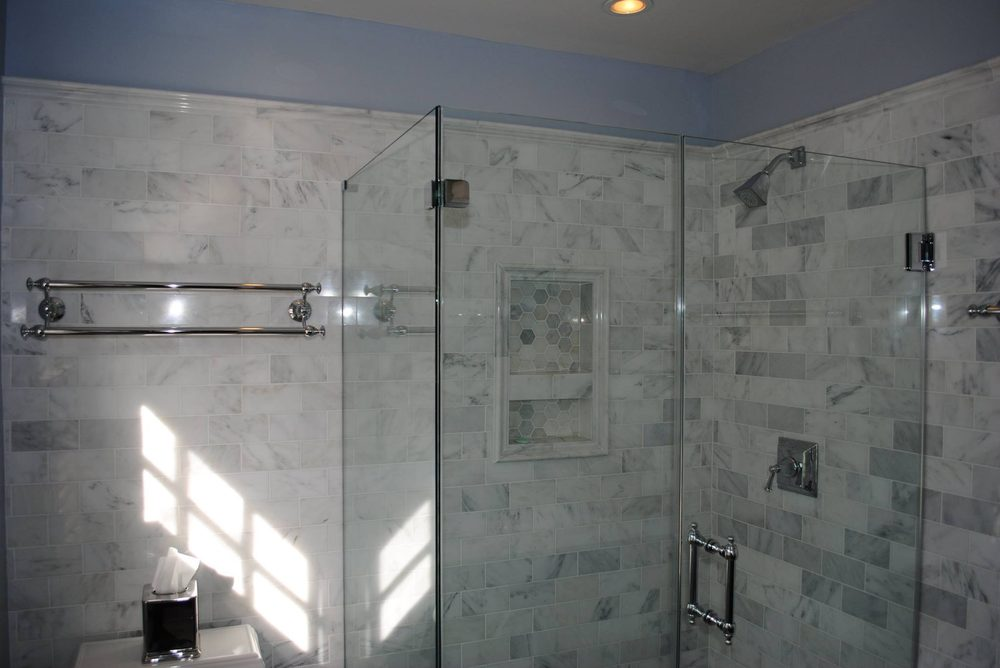We Installed Arabescato Marble Tile On The Floor Walls And Shower
